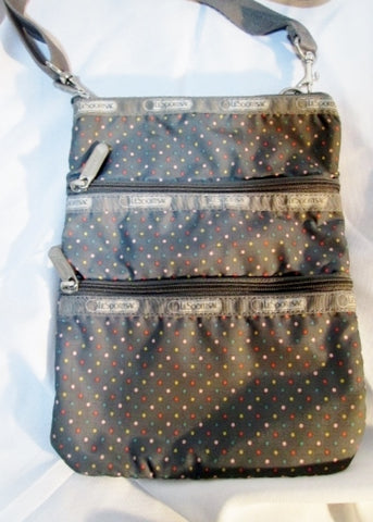LeSPORTSAC nylon shoulder bag messenger crossbody purse swingpack BROWN Polka Dot