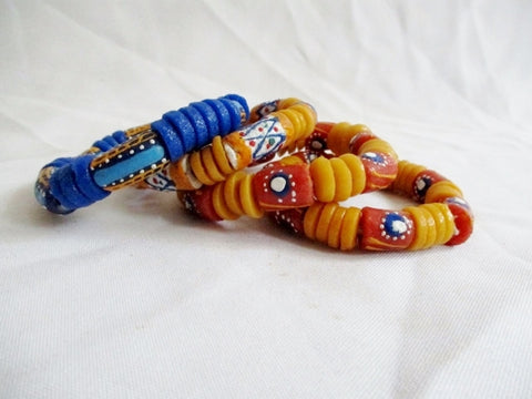 Set 4 AFRICAN SAND BEAD Bracelet Chunky Cuff Bangle YELLOW Boho BLUE
