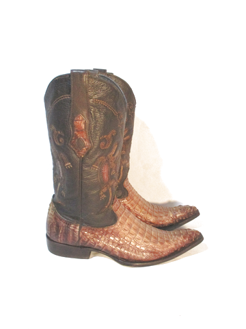 CUADRA Leather Western Cowboy Rocker Riding BOOT 9.5 BROWN CROC Alligator