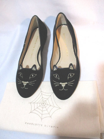 CHARLOTTE OLYMPIA KITTY FLAT CAT BLACK Embroidered Shoe 36.5 Womens