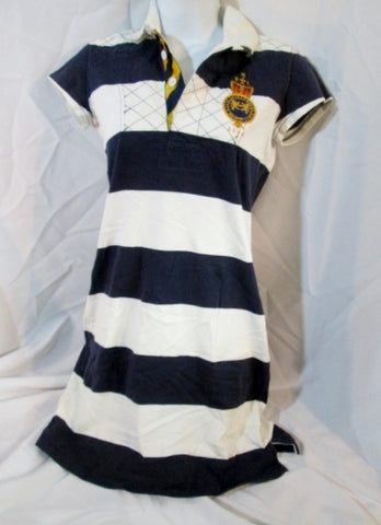Womens RALPH LAUREN RUGBY 2004 DRESS Embroidered S STRIPED Preppy BLUE