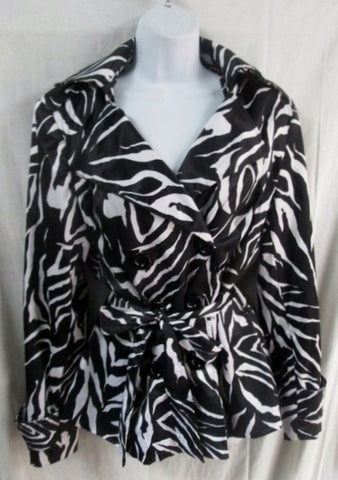 Womens MARINA LUNA jacket belt coat parka BLACK WHITE ZEBRA L Boho