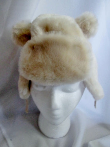 NEW BABYGAP Faux Fur Infant Baby Hat Cap Trooper Flap Aviator 18-24 Months WHITE ECRU TAN