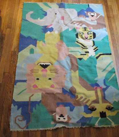 4' X 6' Wool  Area Rug Carpet Mat ELEPHANT MONKEY JUNGLE TIGER GREEN Nursery