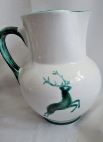 GMUNDNER KERAMIK Handpainted pitcher BUCK DEER Pottery Ceramic Austria WHITE GREEN