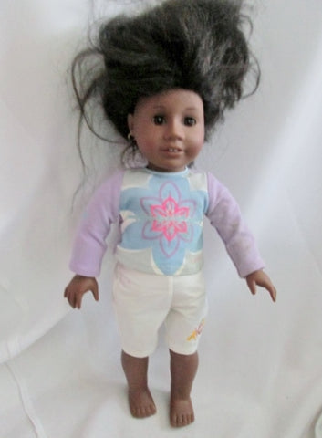 1992 AMERICAN GIRL DOLL ADDIE Retired DARK SKIN DARK HAIR AG 2 Pc Outfit Earrings