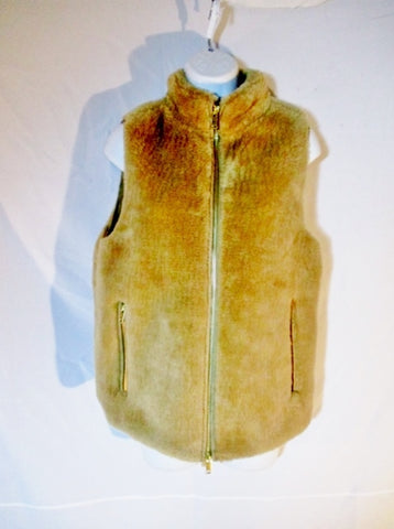 NEW NWT JCREW J. CREW Womens Faux Fur Vest Coat Jacket S Brown Sleeveless