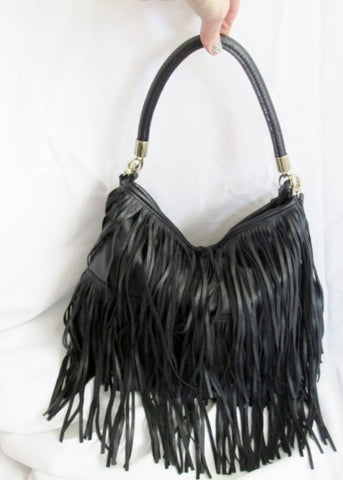 H&M FRINGE faux leather hobo satchel shoulder sling bag BLACK boho L hippie