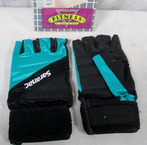 NEW Womens SARANAC Leather Workout Core Fitness Gloves BLACK TEAL BLUE L