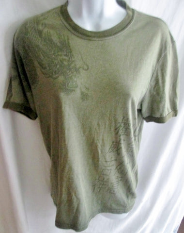 MENS LUCKY BRAND Vtg DRAGON T-Shirt Tee Top MOSS GREEN XS Tattoo Art