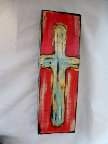 Handpainted CROSS BLOCK CRUCIFIX  Wood FOLK ART Sculpture Rustic Primitive Religious