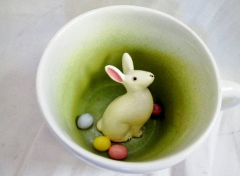 Signed SARAH SPADEMAN Treasure Surprise Animug Cup Mug EASTER BUNNY EGG Pottery USA