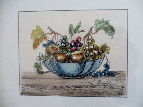Vintage Set BOWL FRUIT SILK MAT GRAPE ORANGE Art Print DECORATOR