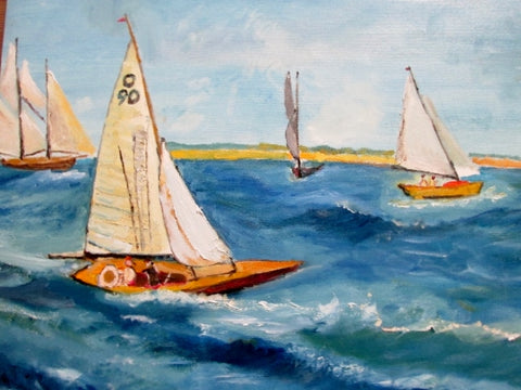 Signed Original MS PAINTING ART Sea Boat Ocean Wave SAILBOAT Nautical BLUE 24X20