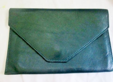 EXPOSURES LEATHER Envelope Wristlet Clutch Organizer Bag Purse Case Pouch GREEN