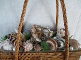 Vtg Handmade STRAW MERMAID HANDBAG Box Purse Satchel SEASHELL RARE!