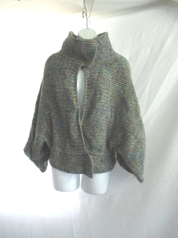 DRIES VAN NOTEN Ruffle Chunky Knit Cardigan Sweater M GRAY Jacket GREY Womens