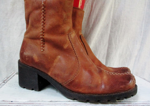 "FRANCO SARTO ""SHERMAN"" Distress Leather Ankle Boot Cowboy Western Shoe BROWN 5.5"