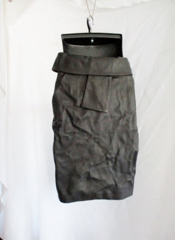 BALENCIAGA PARIS Crinkled Leather France Pencil SKIRT BLACK 40 8 ITALY