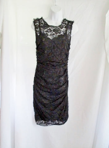 NEW NWT DOLCE & GABBANA ITALY Sleeveless Lace dress 42 / 6 BLACK Ruched WOMENS
