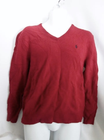 Mens POLO RALPH LAUREN V Neck Knit Wool SWEATER M RED WINE BURGUNDY Top Winter Holiday
