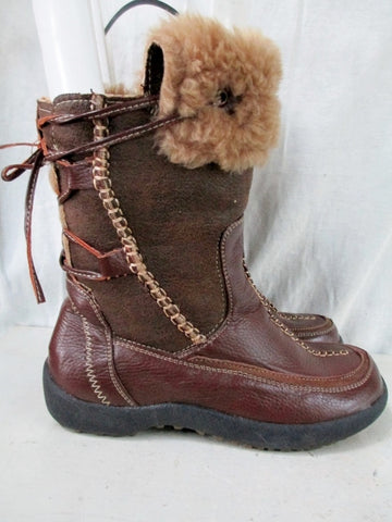 Womens WANTED OKEMO Sherpa Mukluk Vegan Lined Winter Boot BROWN 8