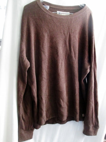 MENS LUCKY BRAND 80318 Thermal Long Sleeve Shirt Tee Top BROWN XL Crewneck Sexy