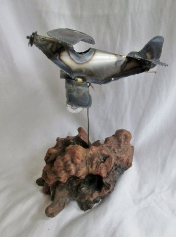 Vintage Handmade Wood Driftwood Tin Airplane Sculpture Art Flight Propeller Plane Aviator Pilot