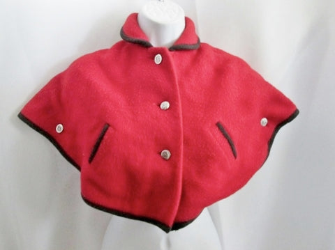 Vintage Retro KAUFMANN SKI FASHION Girls Kids GERMANY Poncho Cape RED Jacket Boho Hippie