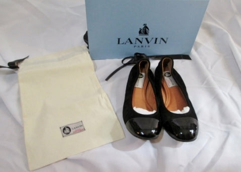 NEW Womens LANVIN PARIS Suede CAP TOE Leather Ballet Flat Shoe 37 / 6.5 BLACK Slip-on