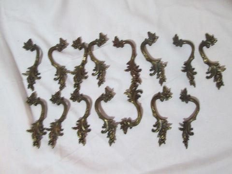 "Set Lot 13 BASSICK-SACK LEAF Metal Drawer Pull Handle 4.25"" HARDWARE BRASS"