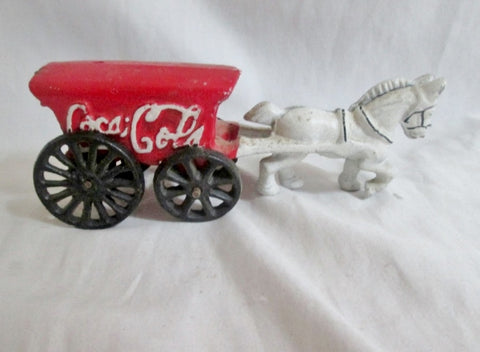 Vintage Antique Cast Iron COCA COLA MOVING HORSE CARRIAGE WAGON RED WHITE BLACK Estate Find