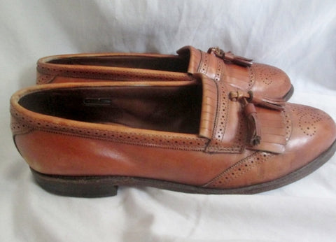 Mens ALLEN EDMONDS BRIDGETON USA Leather Mocs Walking Shoes Loafers 11D BROWN Slip On