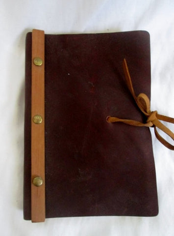 Handmade Journal Travel Blank Book Diary Leather Scrapbook BROWN Softcover Rivet