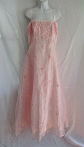 GIRLS BETSY & ADAM LINDA BERNELL Formal Dress Gown 14 PINK ROSE Sequin Bead