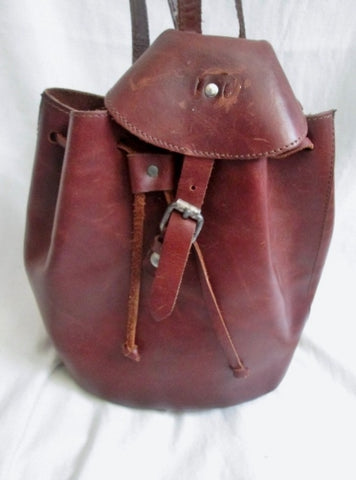 All Leather Drawstring Snap BACKPACK Shoulder Rucksack Travel BAG BROWN Boho