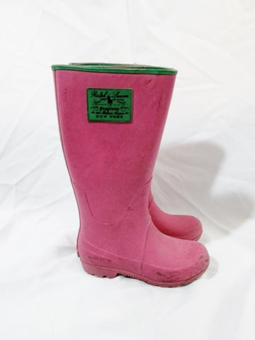 Toddler Girls RALPH LAUREN PROPRIETOR Wellies Rain Boots 13 PINK Kids Rainboots Gumboots