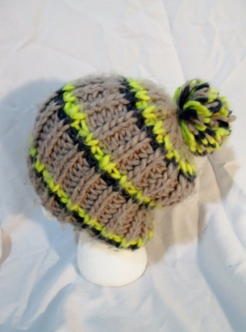 FREE PEOPLE Knit HAT Cap Beanie Striped Boho TAUPE BEIGE YELLOW BLUE Pompom
