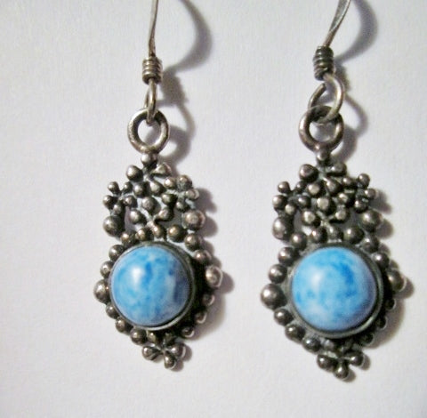 925 Sterling Silver Dangle Drop Pierced Earring Earrings Set DENIM LAPIS BLUE Boho Gypsy