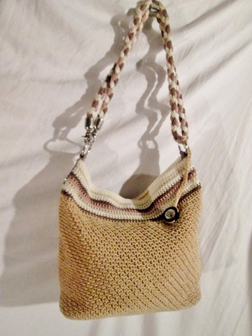 NEW THE SAK Hobo Shoulder Bag Tote Handbag Macrame Knit BROWN BEIGE STRIPE