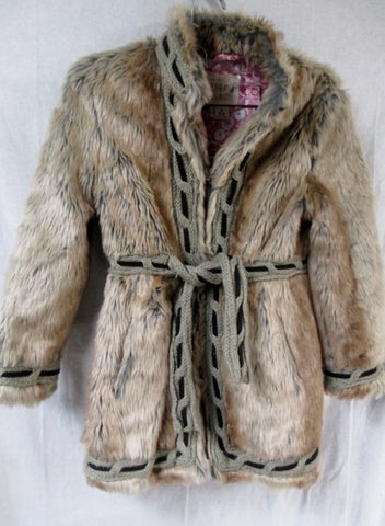 Girls Est 1989 PLACE Faux Fur JACKET Coat Parka 5-6 BROWN Hippie Indie