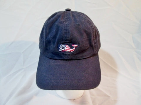 VINEYARD VINES WHALE baseball cap hat AMERICAN FLAG NAVY BLUE EMBROIDERED