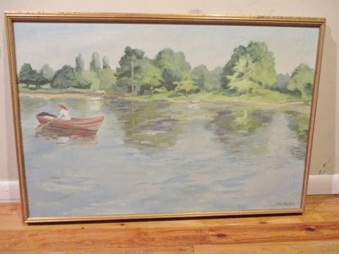 Signed Original PAT RALPH PAINTING ART Lake River Boat Nautical BLUE GREEN