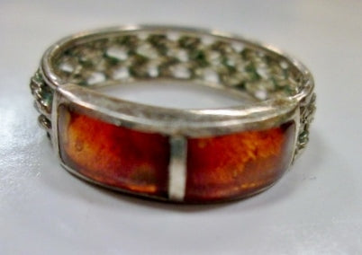 Signed 925 STERLING Silver Ring Sz 7 Band Braided AMBER BLOCK Statement Jewelry 3.2g Mod