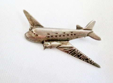 Vintage 925 Sterling Silver AMERICAN AIRPLANE JET FLYER PLANE Brooch Pin PILOT Travel Jewelry