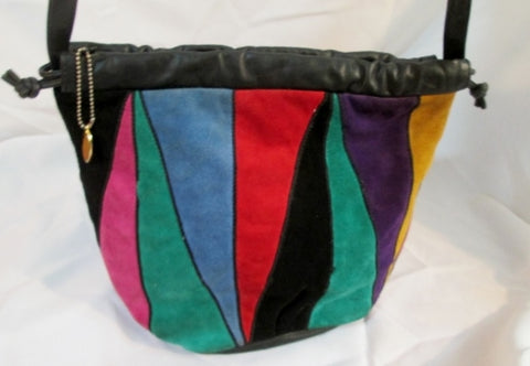 Vintage ETRA PATCHWORK suede leather hobo shoulder bag Purse Crossbody Colorful Hippy