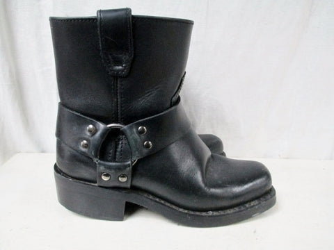Womens DINGO Leather HARNESS Moto Rocker BOOTS Shoes BLACK 6.5 Riding