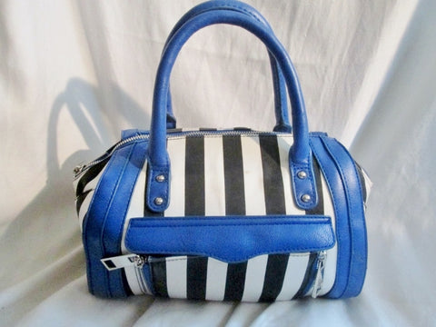 AVON Vegan Mini Duffle Purse Satchel Handbag Gym Bag BLACK WHITE BLUE Stripe