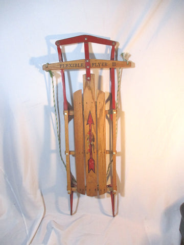 "Vintage FLEXIBLE FLYER III 48"" Snow Sled Wood Winter USA Rustic Ride"