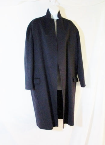 NEW CELINE ITALY 100% CASHMERE trench maxi jacket coat 34 BLUE Womens Long